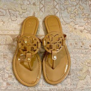 EUC Tory Burch Miller flip flop sandal patent nude